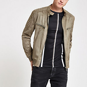 Brown faux suede racer neck jacket