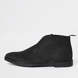 Black nubuck leather lace-up desert boots