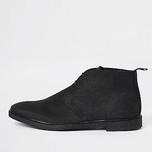 Desert boots en nubuck noires à lacets