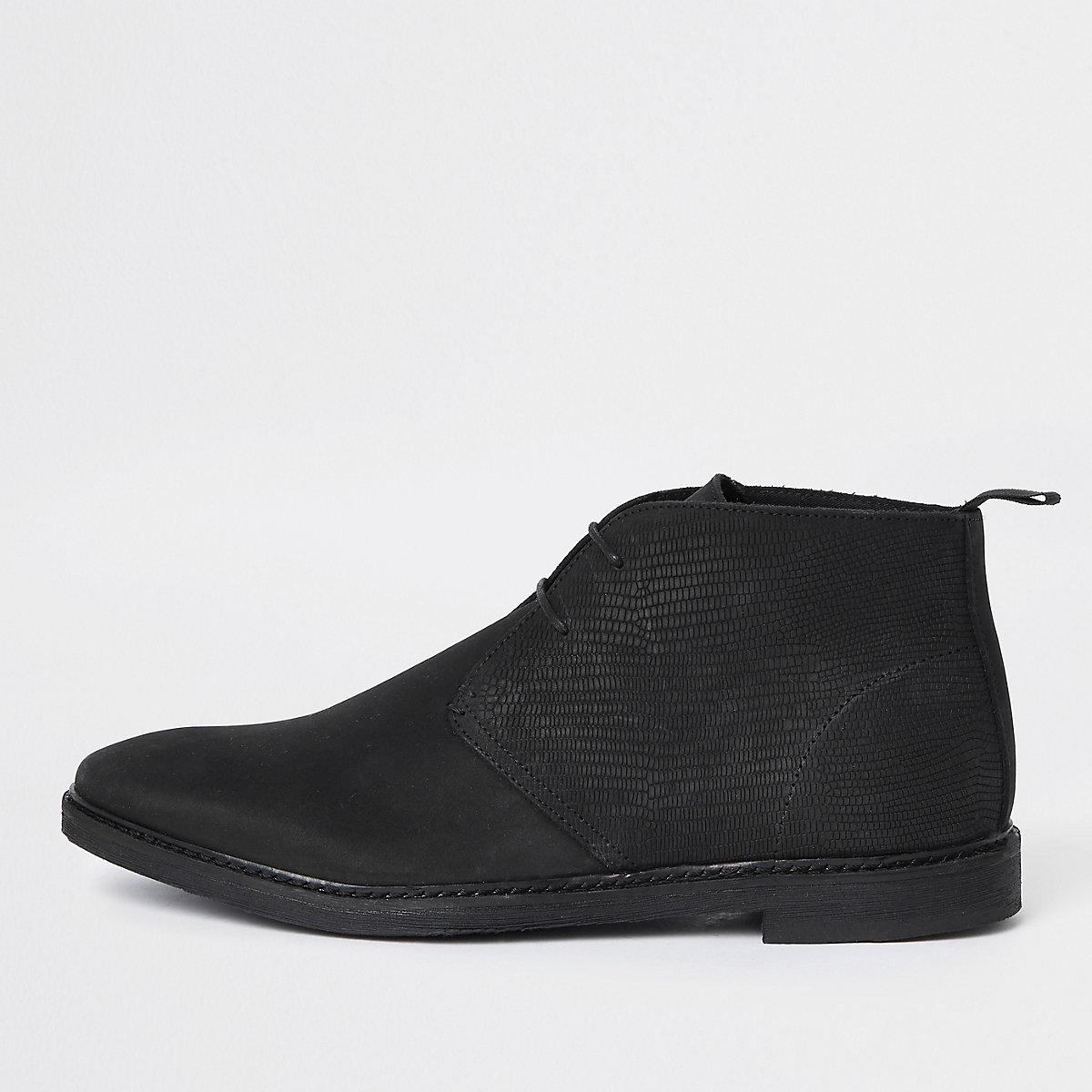 Black nubuck leather lace-up desert boots