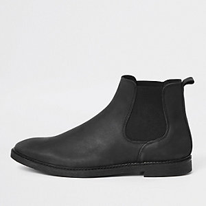 Black nubuck leather chelsea boots