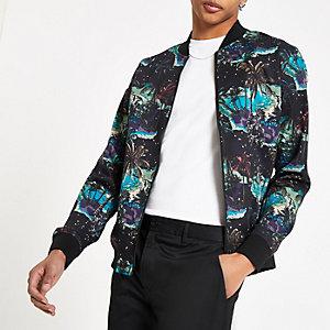 Black paradise print bomber jacket