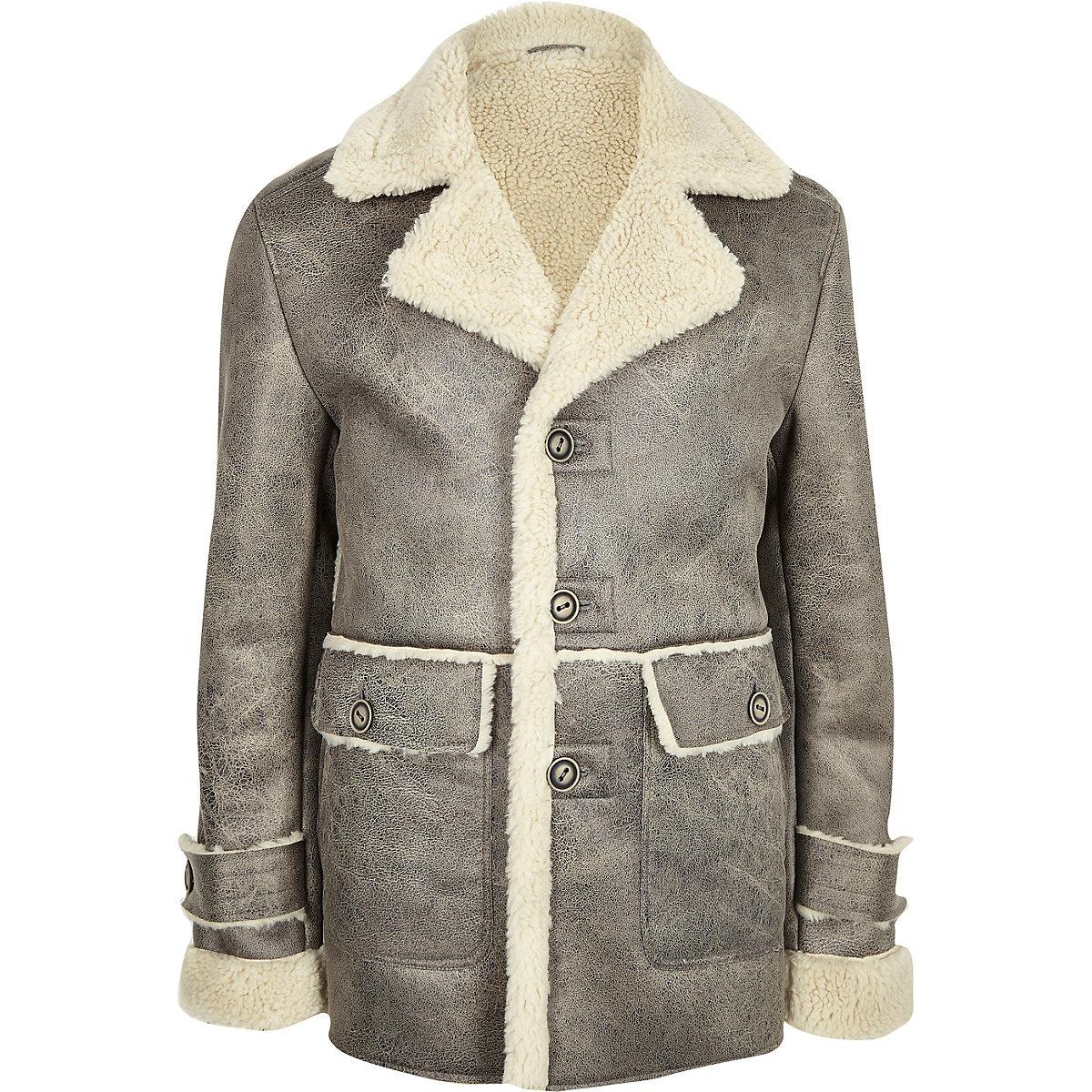 Grey Shearling Lined Button Down Jacket Jackets Coats Jackets