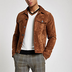 Brown faux suede western jacket