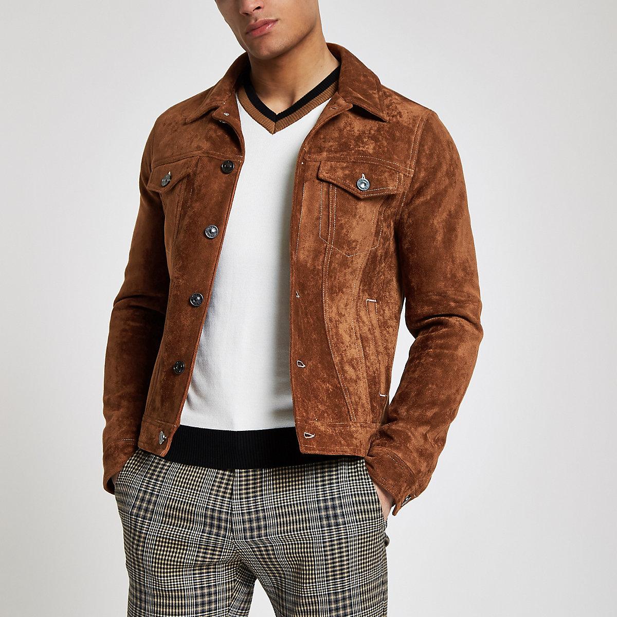 Brown faux suede western jacket