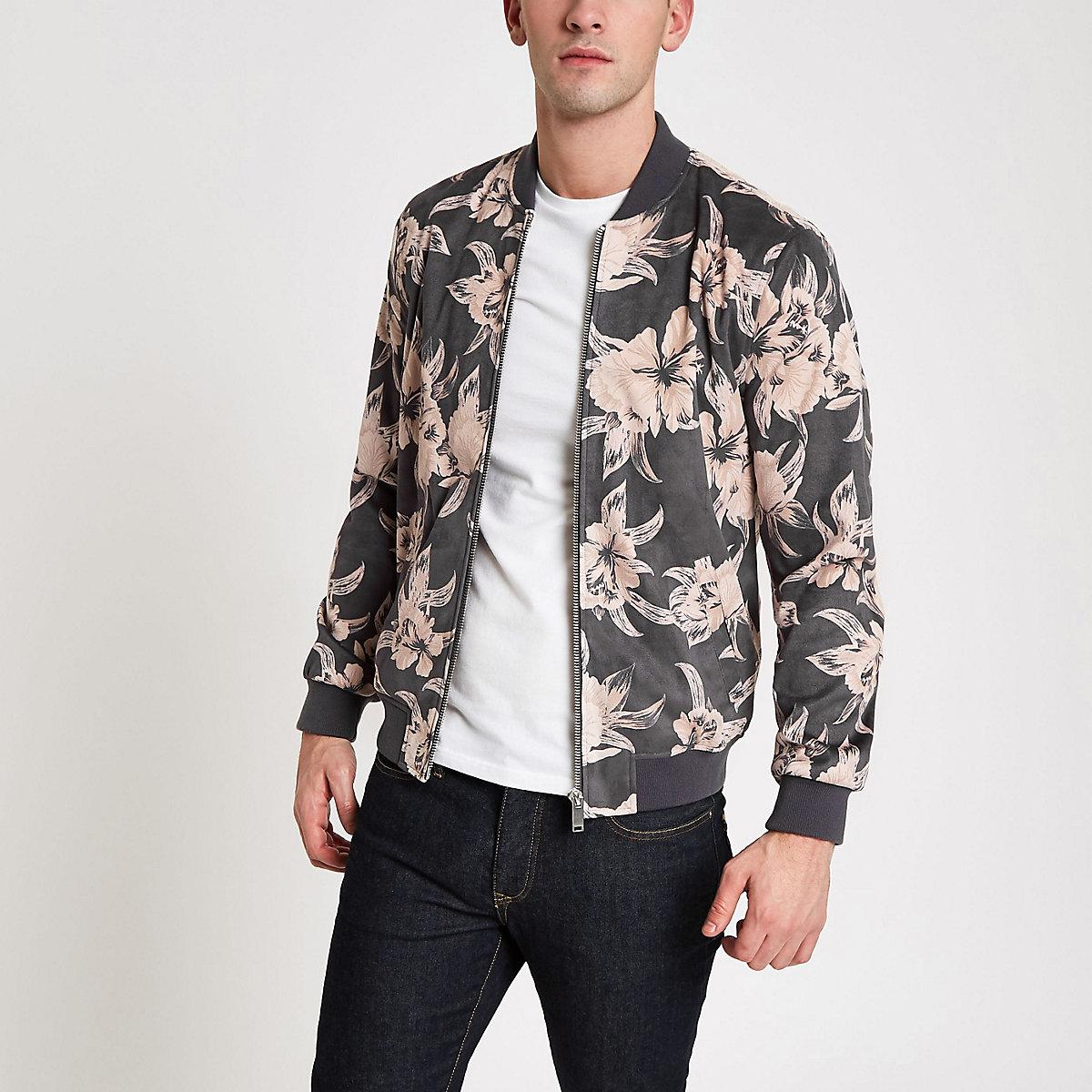 Grey floral faux suede bomber jacket