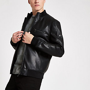 Black perforated faux leather bomber jacket