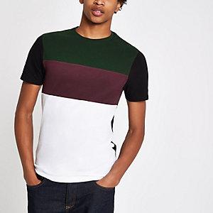 Groen T-shirt met kleurvlakken en ronde hals