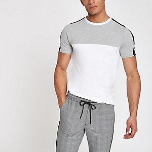 T-shirt ajusté colour block gris