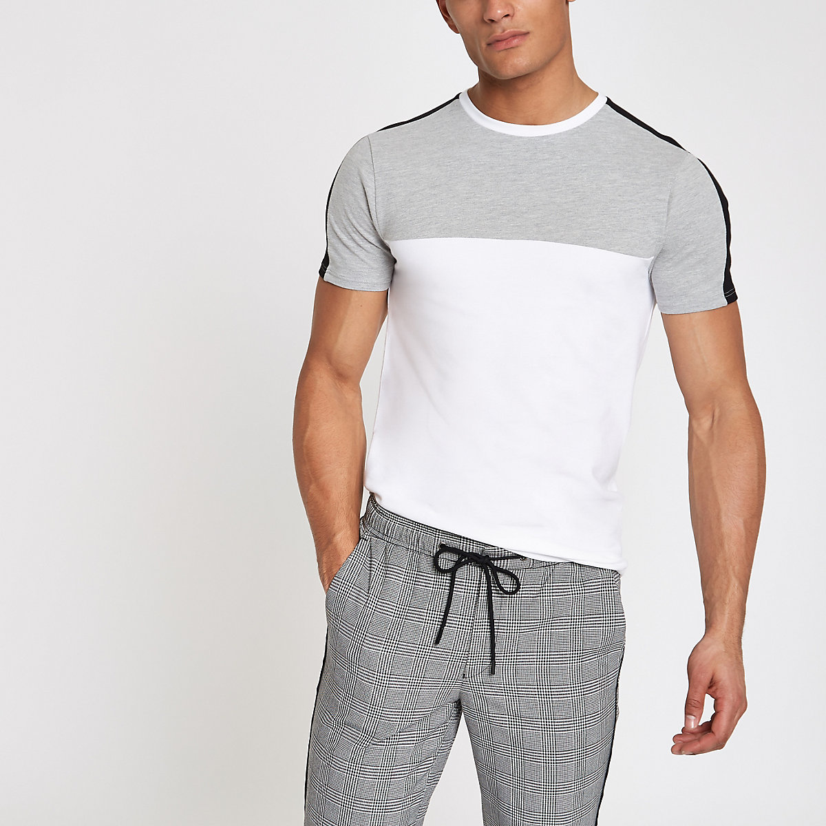 Grey muscle fit color block T-shirt