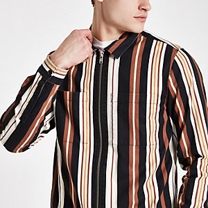 Orange stripe print zip though shirt