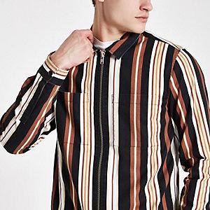 Schwarzes, gestreiftes Hemd mit Reißverschluss