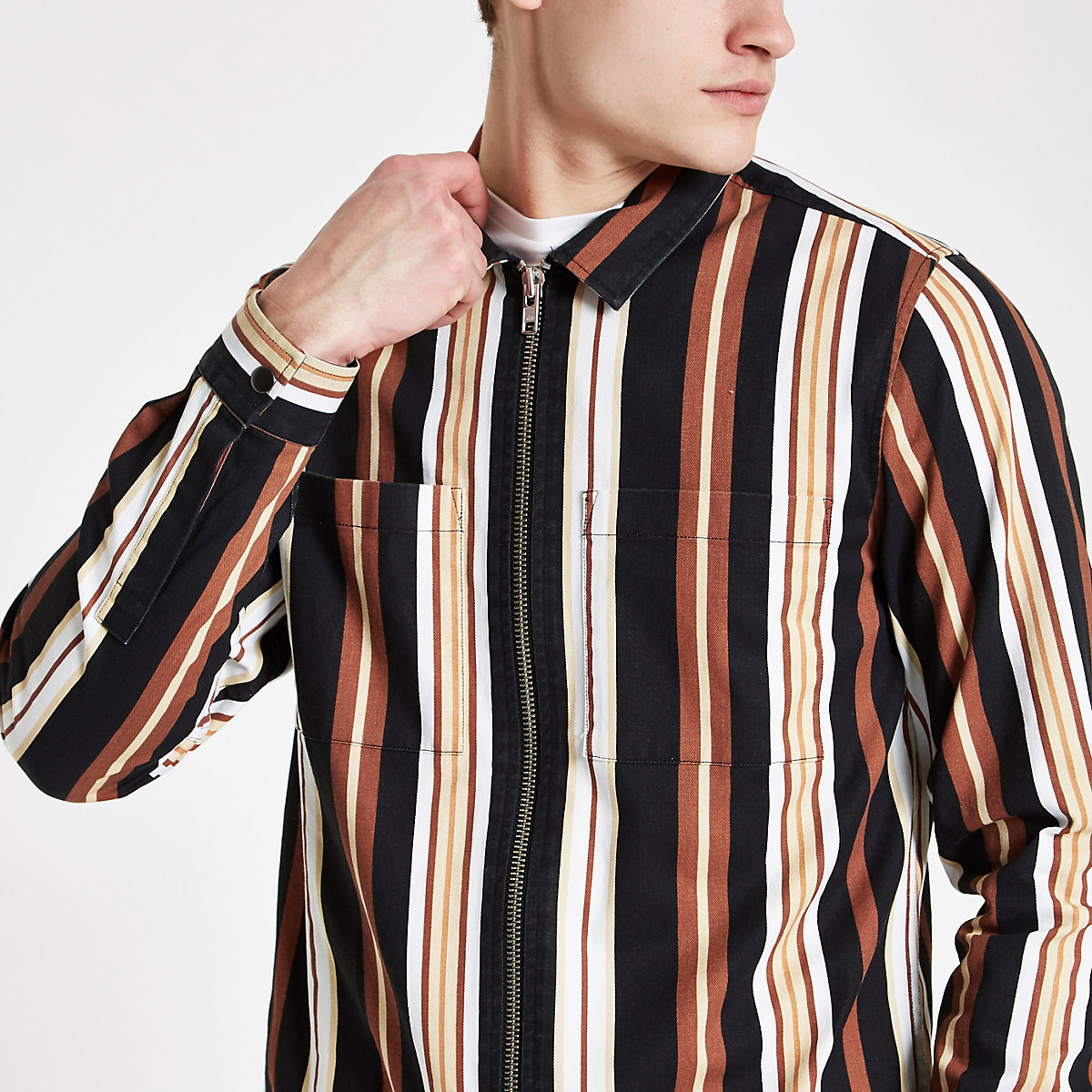 Orange stripe print zip though shirt