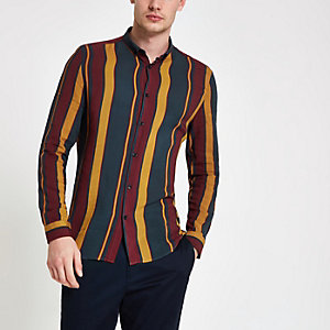 Navy and burgundy stripe long sleeve shirt