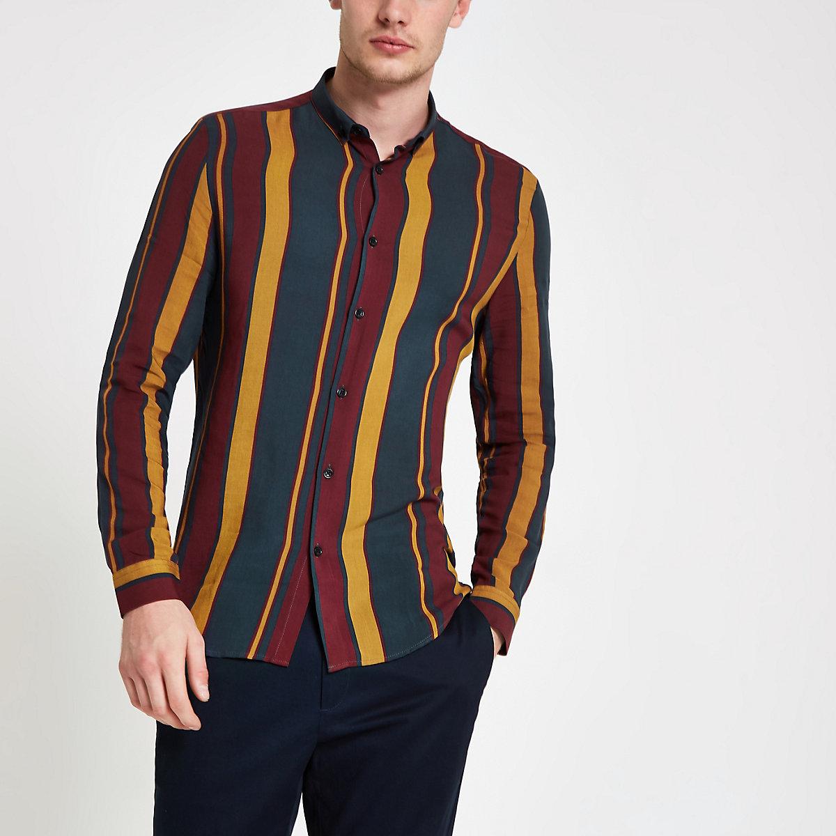 Navy and burgundy stripe long sleeve shirt