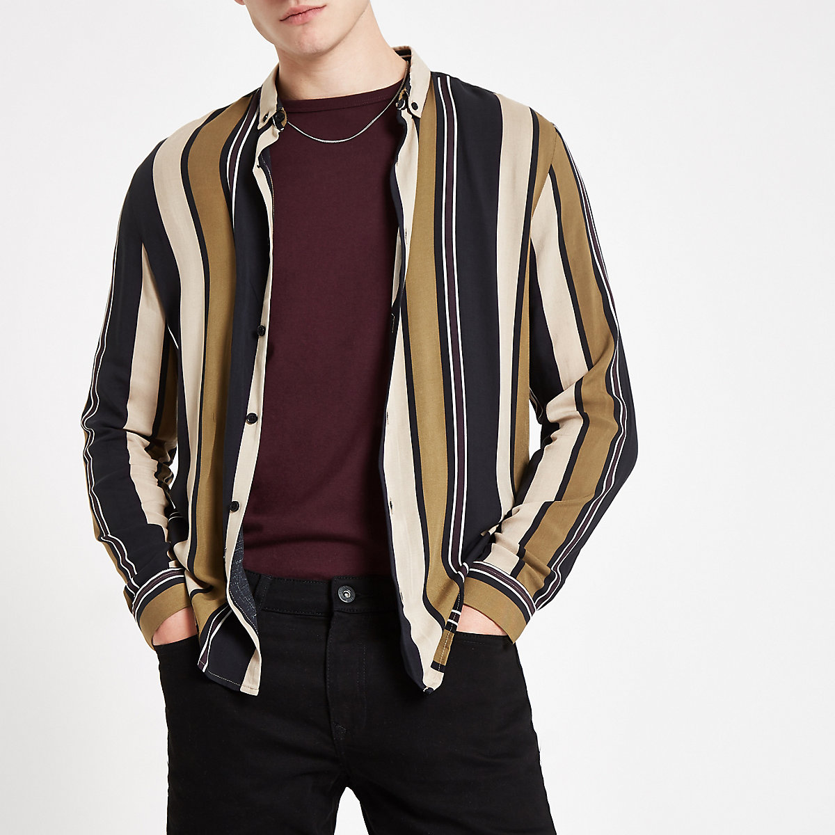 Stone and black stripe long sleeve shirt