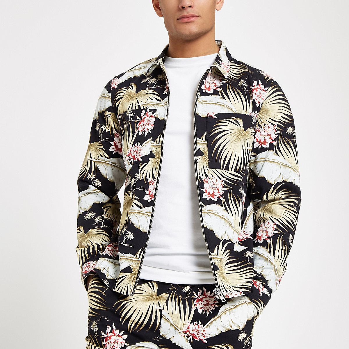 Chemise à fleurs noire zippée