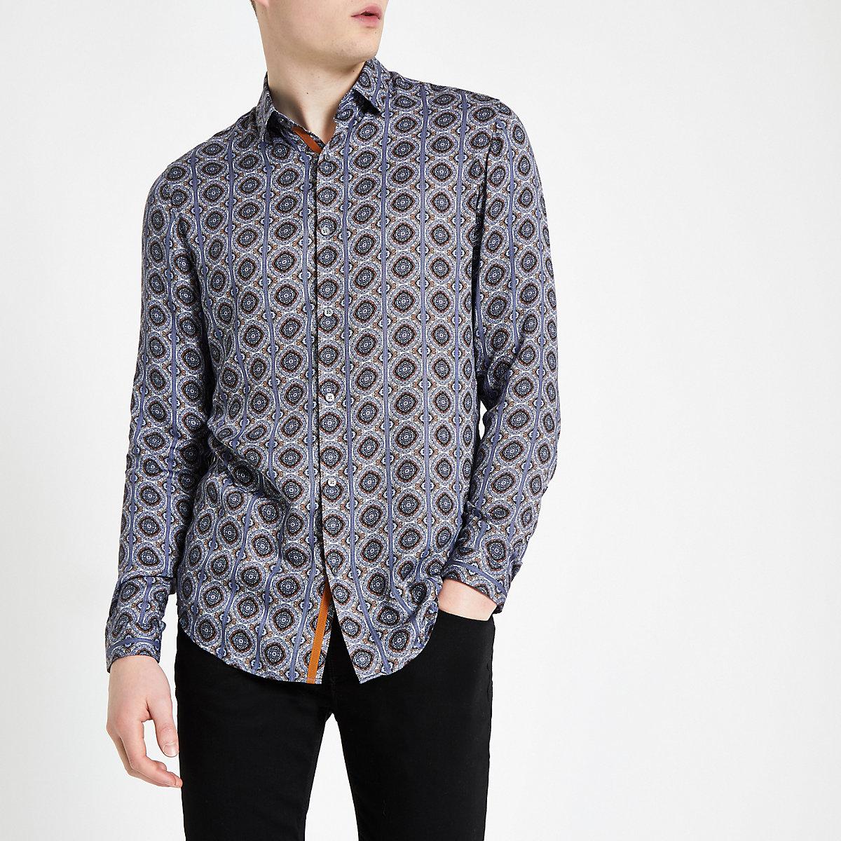 Blue tile print long sleeve shirt