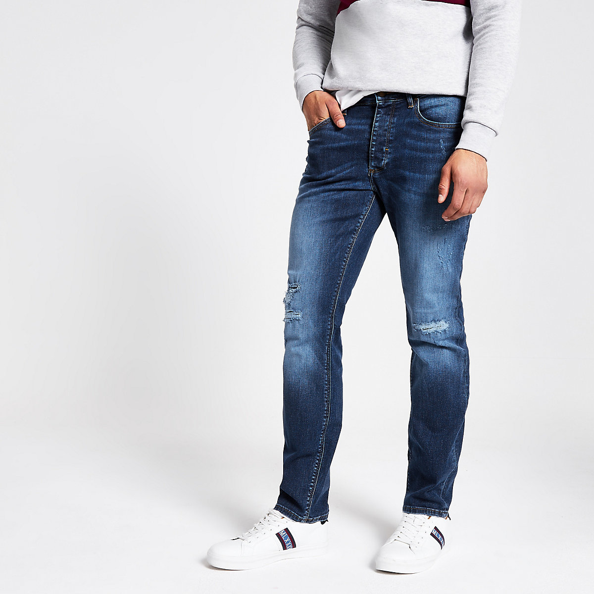 Dark blue Dylan ripped slim fit jeans