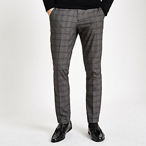 Dark grey check skinny smart trousers