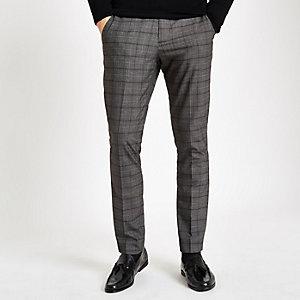Donkergrijze geruite skinny nette broek
