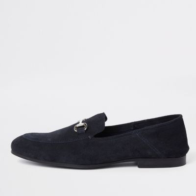 Navy Suede Fold Down Heel Snaffle Loafers by River Island