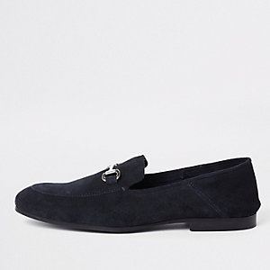 Navy suede fold down heel snaffle loafers