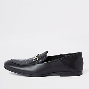 Black leather  fold down heel snaffle loafers