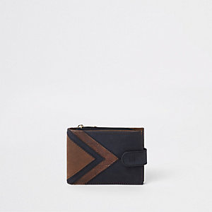 Navy croc fold out wallet