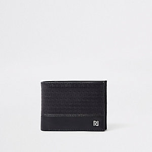 Black RI monogram fold out wallet