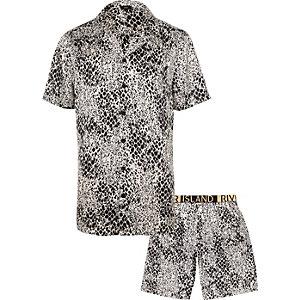 Pyjama en satin à imprimé serpent blanc