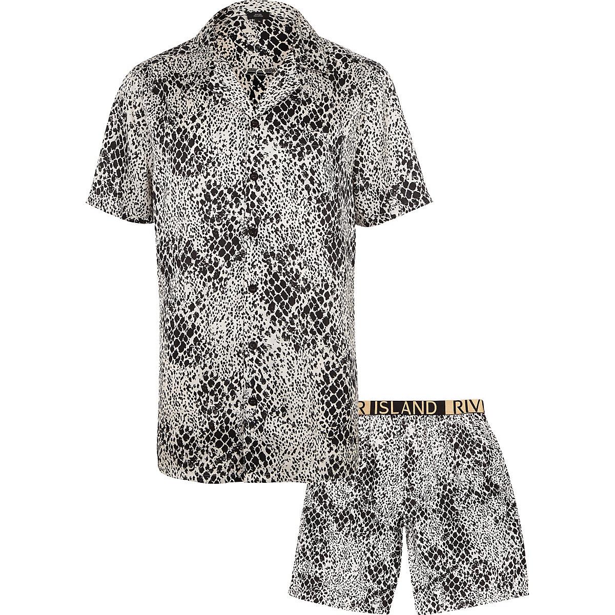 White snake print satin pajama set