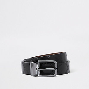 Black reversible diamond belt