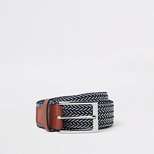 Navy and white woven buckle belt