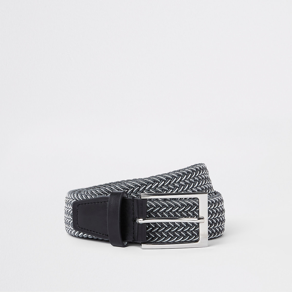 Grey and white woven buckle belt
