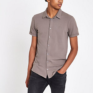 Stone muscle fit embroidered shirt