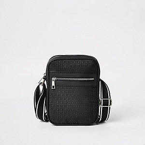 Zwarte crossbodytas met RI-monogram