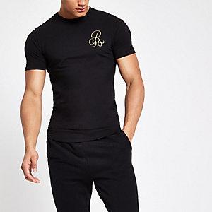 Zwart aansluitend T-shirt met 'R96'-print