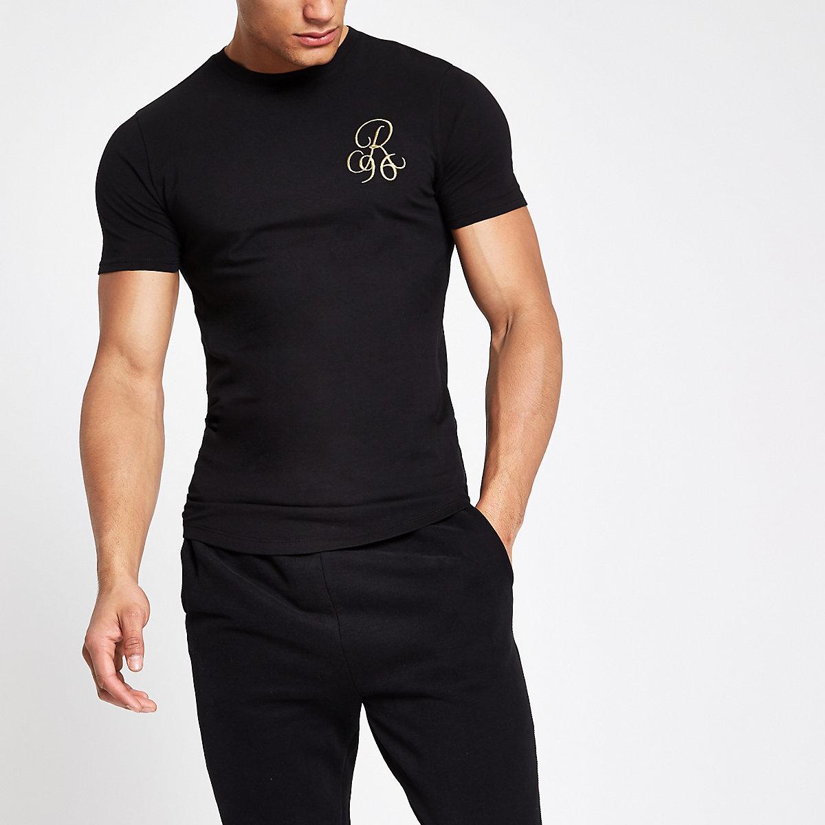 Black 'R96' muscle fit T-shirt