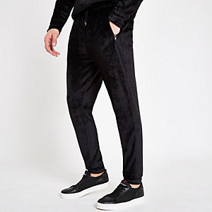 Zwarte fluwelen slim-fit joggingbroek met bies en 'R96'-print