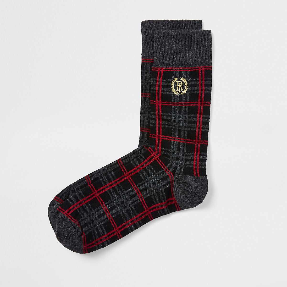 Black RI plaid crest socks