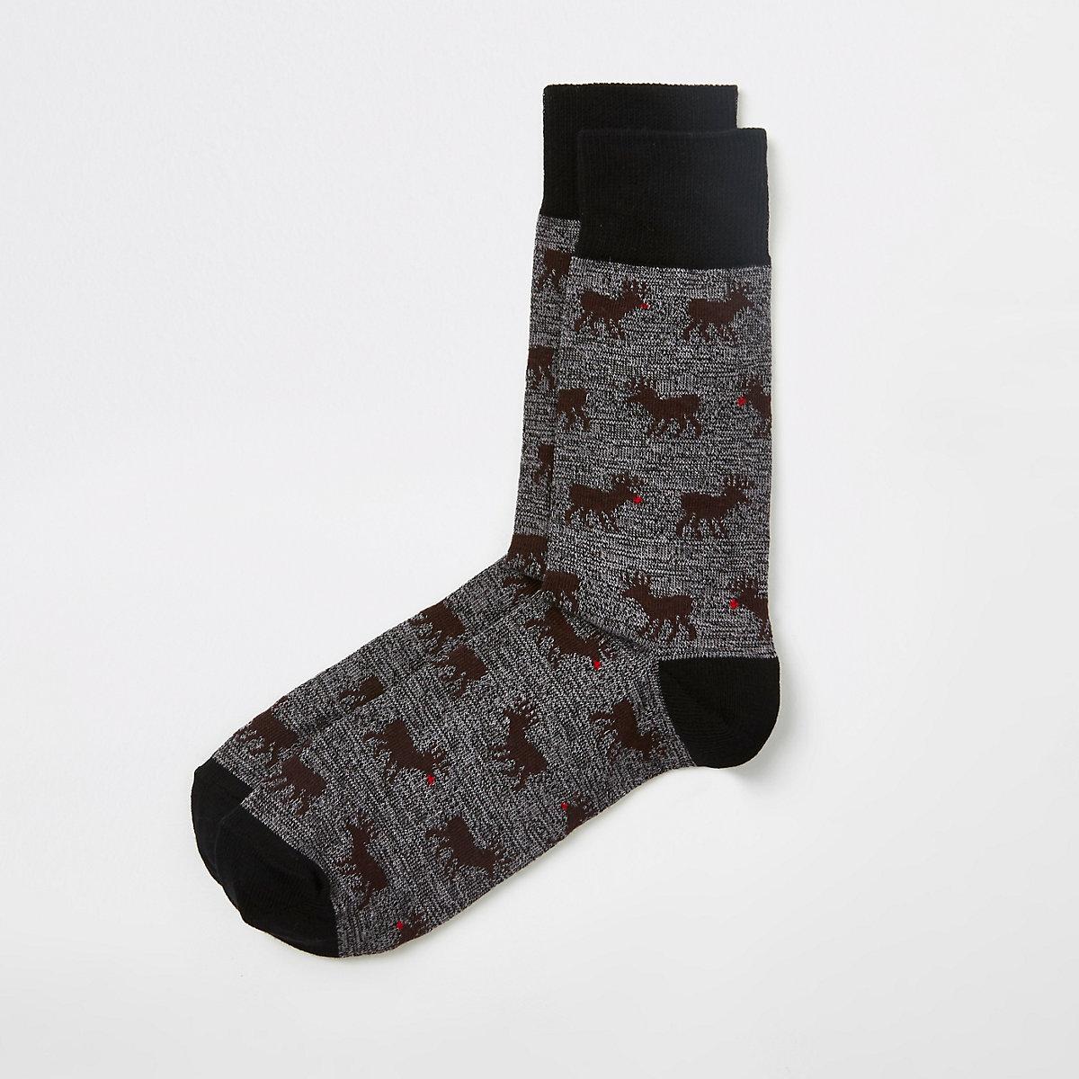Navy stag print socks