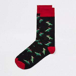 Chaussettes de Noël motif dinosaure noires