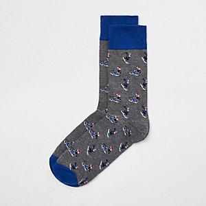 Grijze sokken met skiërprint