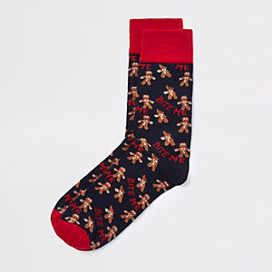 Blauwe sokken met peperkoekmannetje