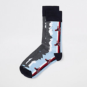 Blue skiing print socks