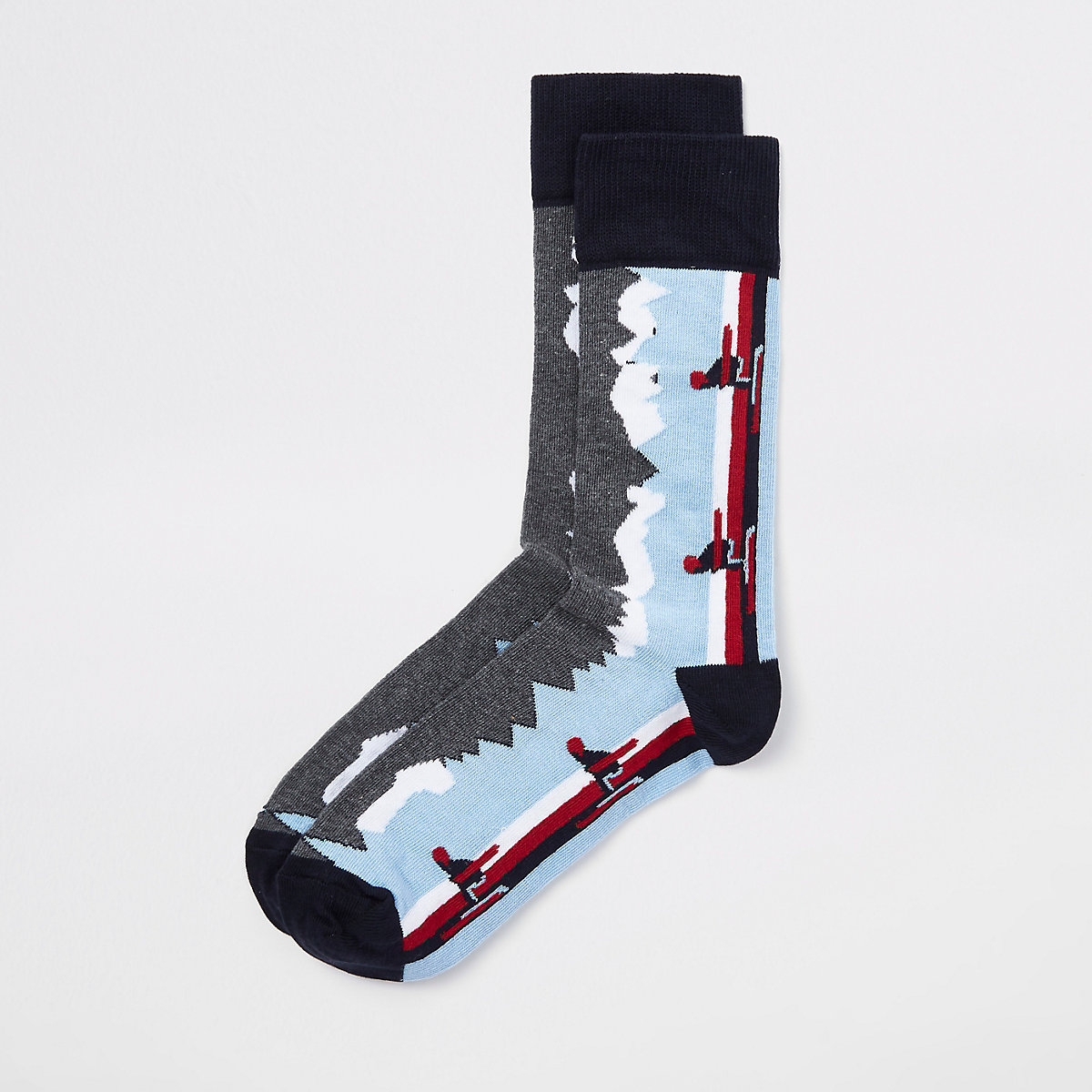 Blue skiing print socks