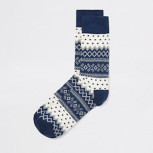 Blue Christmas socks