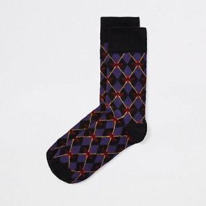 Socken in Lila mit Print