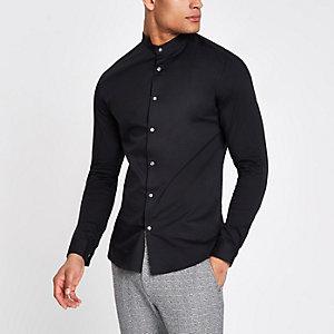 Zwart aansluitend poplin overhemd zonder kraag